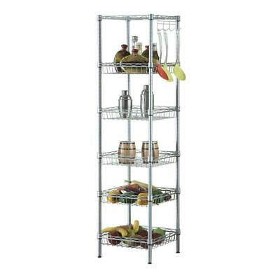 Storage Rack 6-Tier Organizer Kitchen Corner Shelving Steel Wire Shelves Gray