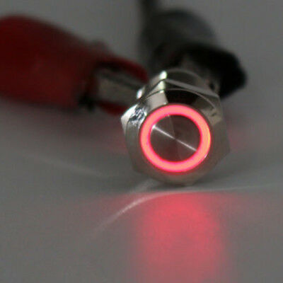 Chrom 4 Pin 12mm Led Licht Metall Push Button Momentary Switch Wasserdicht 12V