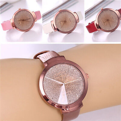Women's Fashion PU Leather Casual Watch Luxury Quartz Crystal Analog Wristwatch
