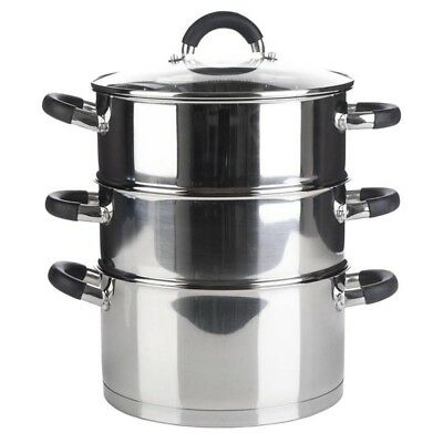3 Tier Stainless Steel Food Veg Steamer Set 28cm Induction Base Vented Lid NEW