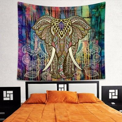 Elephant Tapestry Indian Bohemian Wall Hanging Mandala Throw Hippie Bedspread