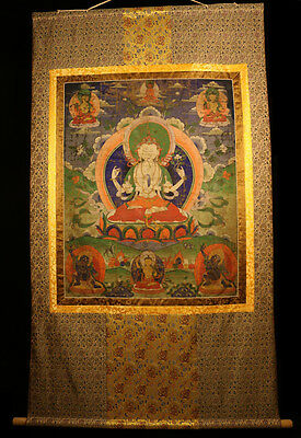 "@19th Century Old Antique Tibet Tibetan Thangka Tangka ""4-armed Avalokitesvara""@"