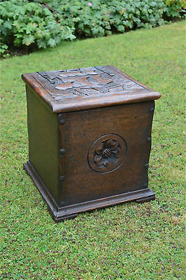 Hand carved Arts and Crafts oak coalbox box Galleon English rose c.1900
