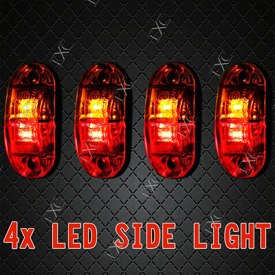 4X Caravan LED SIDE MARKER CLEARANCE LIGHT Trailer 12V 24V - RED AMBER