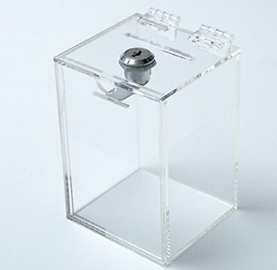 NEW Aoakua keyed BOX acrylic piggy bank donation boxes charity BOX W90mm clear