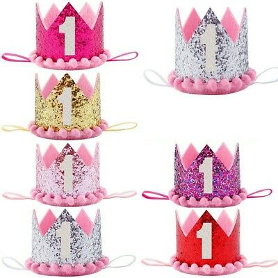 Baby 1st  Birthday Crown Hat Cake Smash outfit Party Photoshoot Girls dress UK