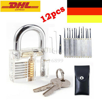 15 tlg lockpicking dietriche set lockpick profi set transparentem bungsschloss eur 11 49. Black Bedroom Furniture Sets. Home Design Ideas