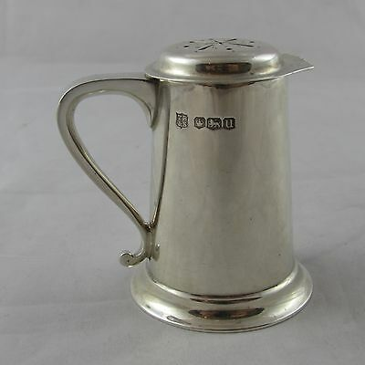 Superb Vintage Novelty Solid Silver Miniature Tankard Pepper Or Pounce Pot 1937