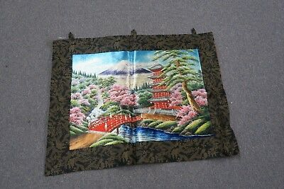 Vintage Chinese Japan ? Silk Embroidery Hand Stitched Bunka Tapestry Asian Scene