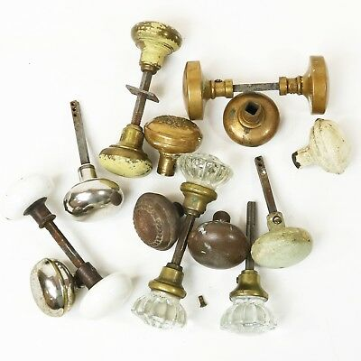 Lot of 17 Vtg Door Knobs - Glass, Metal, Brass, Victorian Crafts Architectural
