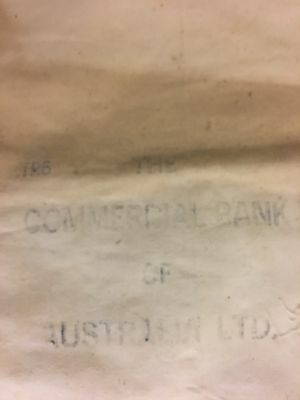 The Commercial Bank Of Australia Ltd. TR6 Calico Bank Bag Vintage Rare
