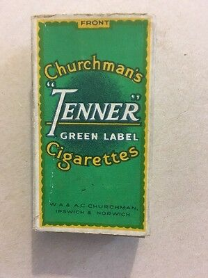 Churchman's Tender Green Label Cigarettes Box Old Vintage Rare
