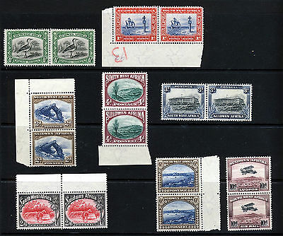 SOUTH WEST AFRICA 1931 Bilingual Pairs Part Set inc. Air Mail SG 74 to SG 87 MNH