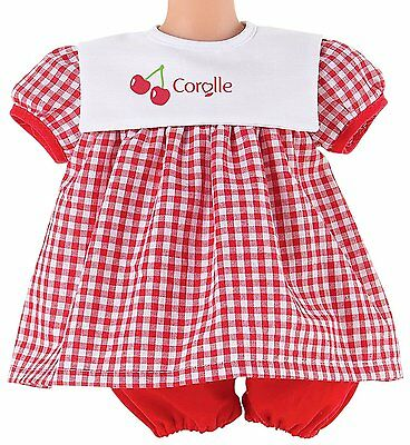 """Corolle 17"""" LES CLASSIQUES RED DRESS SET Baby Doll Checkered NEW France"""