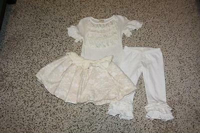 Girls Persnickety Cream Essentials LOT Bubble Lace Skirt Ruffle Capris Top 3/4