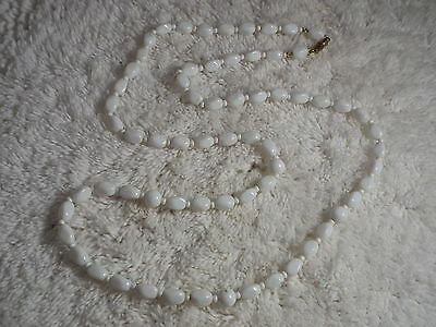 White Glass Bead Necklace  (C50)