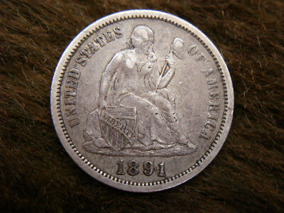 1891 United States Seated Dime - Tons Of Detail & Natural Too! - Must See