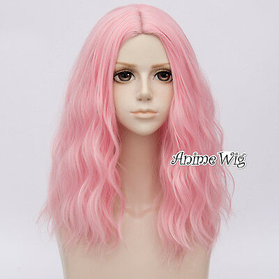 50cm Long Curly Hair Pastel Light Pink Lolita Lady Daily Party Cosplay Wig + Cap