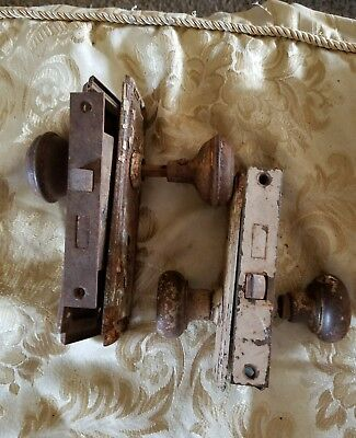 Antique Pair Entryway Bronze Brass Door Knob Set