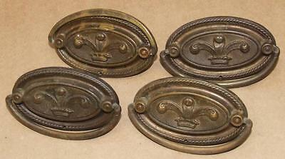 4 Vintage Art Nouveau Brass Fleur De Lis Feather Swing Handle Drawer Pull 3.25""