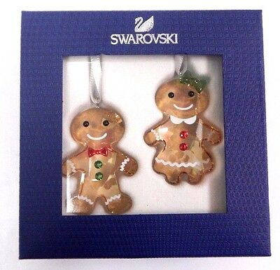 Gingerbread Couple Ornament Set - Girl Boy 2017 Christmas Swarovski 5281766