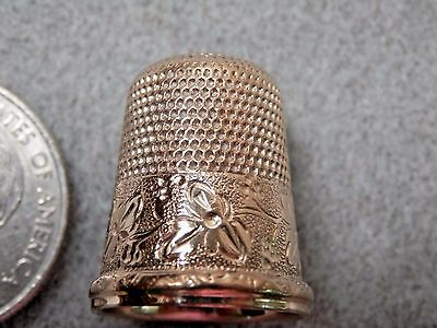 1, Antique Sterling, gold overlay Thimble from Simons Bros, Vintage Hallmarked