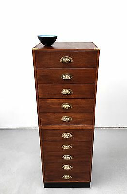 A vintage 10 drawer haberdashery cabinet plan chest. DELIVERY AVAILABLE.