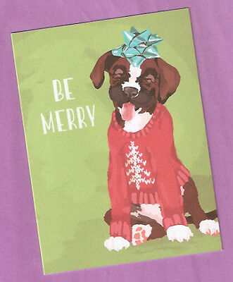 Boxer Christmas Cards Box of 10 Be Merry Sweater Tree Bow Printed in USA