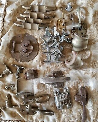 Lot Of Vintage Antique Hardware Latches Hooks Plates
