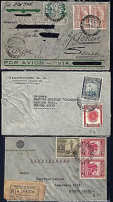 PARAGUAY 1940s & URUGUAY 3 AIR MAIL COVERS ONE REGISTERED