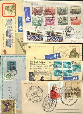POLAND 1960-80's COLLECTION OF 14 COVERS VARIOUS FRANKINGS
