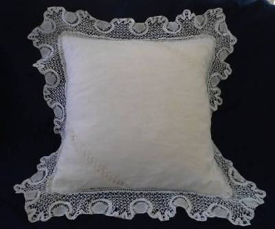 "Lg Vintage 17"" Linen Throw Pillow Bobbin Embroidered Lace Cream Ivory Handmade"