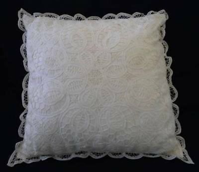 "Large Vintage 16"" Authentic Battenburg Tape Needle Lace Throw Pillow Cream White"