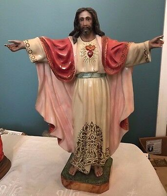 Rare Vintage Sacred Heart Jesus Statue With Glass Eyes