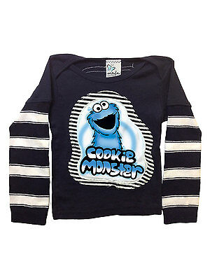 MORFS NWT Sesame Street Cookie Monster Stitched Boutique LS Shirt Tee 2T 4T 6T