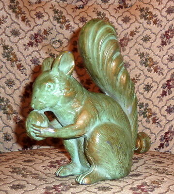 "Rare Antique Heavy Metal Green 8"" Figural Squirrel Lawn Water Sprinkler"