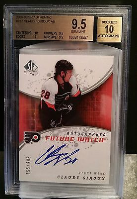 08-09 SP Authentic Claude Giroux /999 Rookie Future Watch BGS 9.5 Auto 10 2008