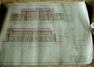 12+ Rare 1929 Architectural Perspective Drawings Grinnell KS Rural High School