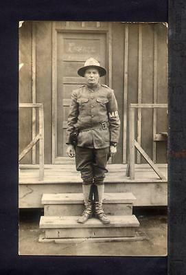 1915 WW1 Era Military Police SOLDIER MP Real Photo Postcard RPPC HAROLD S KELSEY