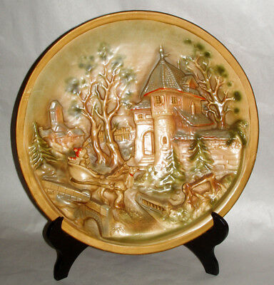 """Antique 14"""" Germany Christmas Scene Boy in Sled Pottery Relief Wall Platter"""