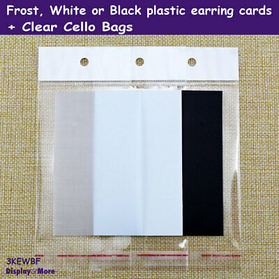 100 BLANK Earring Card + 100 Cello Bag | White or Black or Frost | AUSSIE Seller