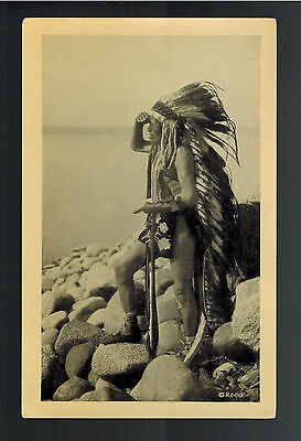 Real Picture Postcard Native American Indian Chippewa Ojibway Chief Ogamah
