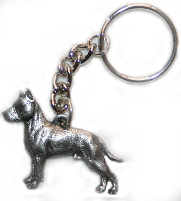 AMSTAFF American Staffordshire Bull Terrier Dog Pewter Keychain Key Chain Ring