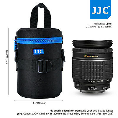 JJC 80x152mm Deluxe Lens Pouch Case Bag with 120mm Shoulder Strap for Canon Lens