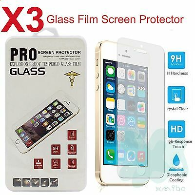 3 PACK Film Real Premium Tempered Glass Screen Protector for iPhone 5 5S 5C SE