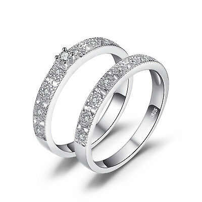 JewelryPalace Two Stack 0.11ct Cubic Zirconia Cocktail Band Ring 925 Silver