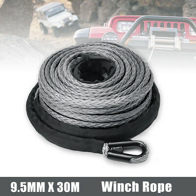 "2/5"" x 100ft 23000LBS Synthetic Winch Tow Rope Line Grey Recovery Cable 4WD ATV"