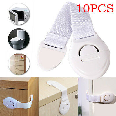 10x Child Baby Cupboard Cabinet Safety Belt Locks Pet Proof Door Drawer Fridge