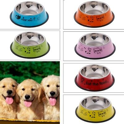 Multi-color Anti-Skid Stainless Steel Cat Dog Food Water Bowl Pet Feeding Tool