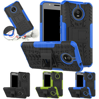 For Motorola Moto E4 Plus Rugged Hybrid Rubber Protective Hard Case Stand Cover